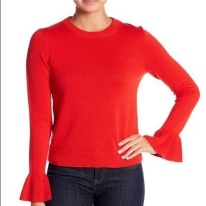 J. Crew Red Ribbed Knit Bell Sleeve Sweater Large